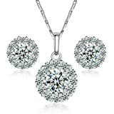 Yoursfs 18k White Gold Plated Use Circle Simulated Diamond Pendant Necklace and Stud Earring Sets