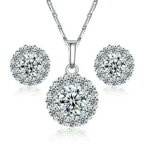 Yoursfs 18k set Collana e Stud orecchino d'oro bianco placcato il cerchio diamante simulato