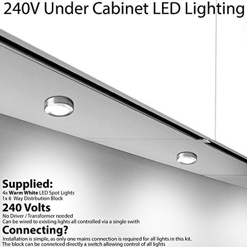 4x * 240V * LED Unter Schränke/Küche/warmweiss Strahler–Chrom &–Oberfläche & Flush/Nische Mount Arbeitsplatte Zähler Light–Beleuchtung Beam, Cablefinder