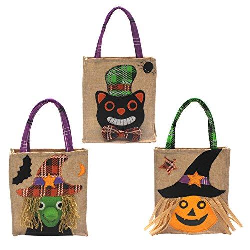 Pannow Halloween-Einkaufstasche, 3PCS nichtgewebtes Geist-Festival-Mall-Hotel-Plätzchen-Apple-Geschenk-Tasche