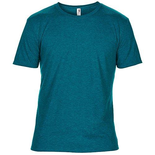 Anvil Mens Adult Tri Blend T Shirt - Heather Galapagos Blue