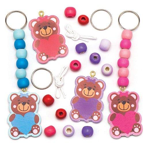Kit portachiavi con orsetto del cuore per bambini da colorare, decorare e personalizzare - set di creazioni fai da te di san valentino per bambini (confezione da 4)