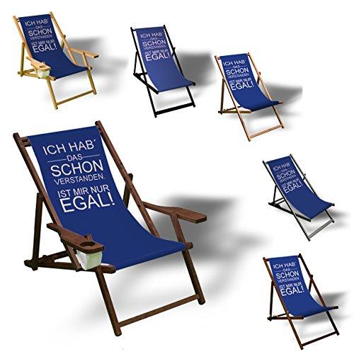 Printalio - Ich hab das Schon verstanden - Liegestuhl Bedruckt Balkon Garten Sonnenliege Relax Holz Terrasse | mit Armlehne, Dunkelbraun