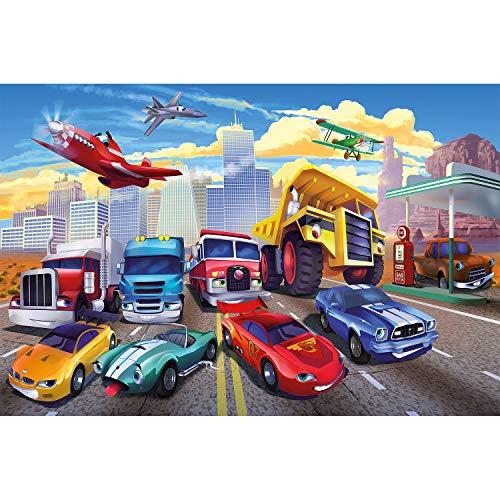 Fototapete Kinderzimmer Tapete Cars Planes - Autos Flugzeuge ...