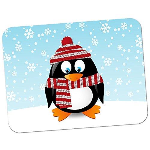 Pinguin in Schal & Mütze Rot & Weiß Hochwertiges dickes Gummi-Mauspad mit weicher Komfort-Oberfläche (Add-on-schals)