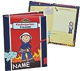 Unbekannt Meine Kindergarten Freunde Buch - Feuerwehrmann Frido Feuerwehr für Jungen - mit Namen - dick gebunden für Kindergartenfreunde Poesie A5 Hardcover - Freundebuch Poesiealbum Kinder
