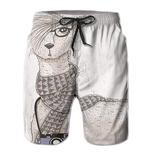 4edbf96bd6 Mens Beach Shorts Swim Trunks,Hipster Lama Figure with Hair Style and  Camera Artist Animal