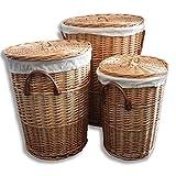 Homescapes Wäschekorb Set 3tlg Weide Wäschesammler Rund mit Deckel und Henkel Wäschetruhe Wäschetonne Natur