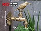 Nostalgischer Wasserhahn mit Kolibrimotiv für den Außenbereich Garten, Auslaufhahn, Antik