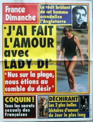 AFFICHE DE PRESSE - J'AI FAIT L'AMOUR AVEC LADY DI - RECIT D'UN HOMME QUI SCANDALISE L'ANGLETERRE - LES SECRETS SEXUELS DES FRANCAISES - LES 2 PLUS HISTOIRES D'AMOUR DU JOUR LE PLUS LONG.
