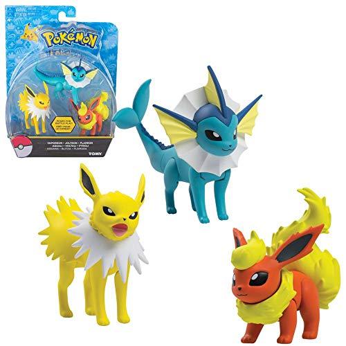 TOMY Aquana, Blitza & Flamara | 3er Pack Action Figuren | Pokemon