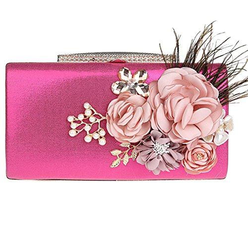 KAXIDY Blumen-Entwurf Handtaschen Clutch Abendtasche Handtasche Handmade Clutch Brauttasche Hochzeittasche für Damen Mädchen Rose-Rot