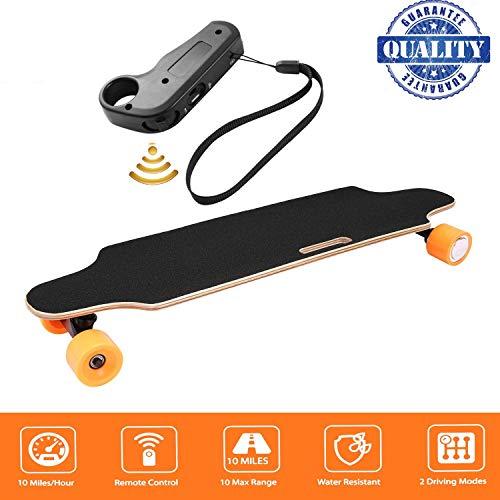 fiugsed Électrique Skateboard Longboard Skateboard avec Télécommande sans Fil Bluetooth, Planche Longue 7 Couches de Planche Feuille D'érable Solide, Vitesse Maximale 20 km/h (Jaune)