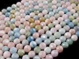 Beads Ok, DIY, Morganite, Genuine, Naturale, 8mm, Tondo Elegante Sfaccettata (64 Sfaccettature), Circa 39cm Un Filo. (Morganite, Elegant Faceted Round Bead (64 facets))
