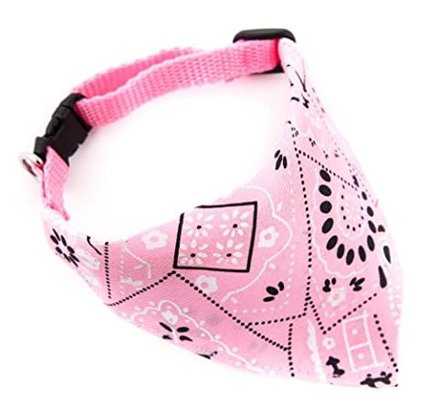 Adjustable Bandanas for Dogs Puppy Pet Products Collars Scarves Pet Accessories (Medium, Pink)
