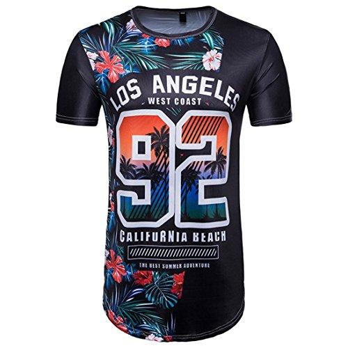 Malloom® Los Angeles 92 Herren Sommer WM Druck T-Shirt Herren Sommer Fußball 3D Print Brief Kurzarm T-Shirt Top Bluse