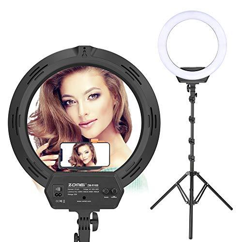 ZOMEI Ringlicht Ringleuchte LED Dimmbar 16 Zoll Fotografie leuchtet mit Ständer Kugelkopf und Handyhalterung 38W 3200-5600K Bilden und YouTube Video Ringleuchte zum Kamera Smartphone IPad