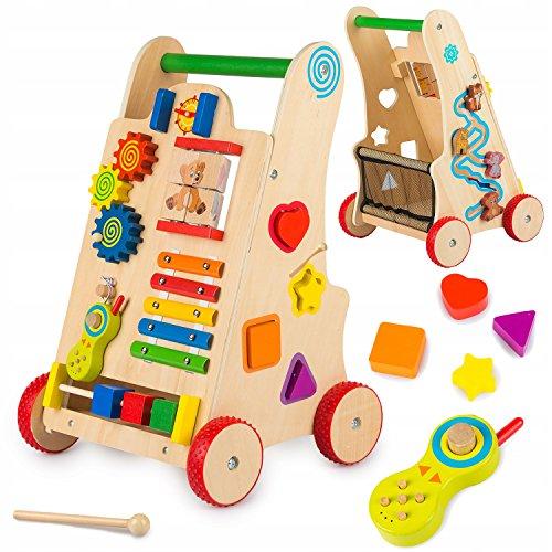Lauflernwagen Lauflernhilfe Laufwagen Gehfrei Holz GS0030 Baby Walker aus Holz Spiel-und Lauflernhilfe aus Holz Schiebewagen - Multifunktions- Spielwagen/Lauflernwagen aus Holz