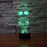 Hysxm 3D Cartoon Polizist Form Tischlampe Led Usb Nachtlicht Schlafzimmer Nacht Dekor 7 Farben Visuelle Oppa Schlaf Beleuchtung Kinder Geschenke