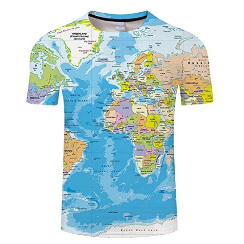 Crazy Hawaii-hemden (NSDX Herren 3D T-Shirt Weltkarte T-Shirt Druck 3D T-Shirt Harajuku Outfit Tees Top Sommer Stil Lustige Grafik T-Shirt Asiatische Größe 6XL)