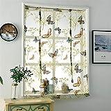 iBaste Raffrollos Vorhänge Blickdicht Tunnelzug mit Muster Voile Kurzgardine für Kleinfenster Gardinen Dekoschal für Küche Wohnzimmer Schlafzimmer