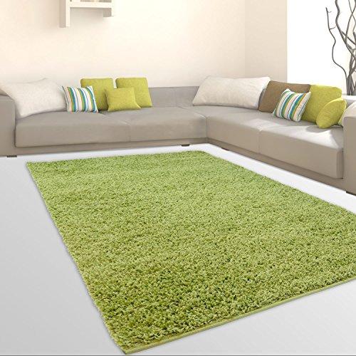 CC Uni-Light Shaggy Teppich Hochflor Samtweich Flokati Einfarbig Grün, Größe in cm:70 x 140 cm -