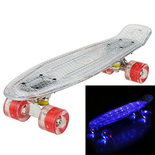55cm Cruiser Skateboard Komplett Mini Vintage Skate Board mit LED Leuchtrollen für Kinder Erwachsene