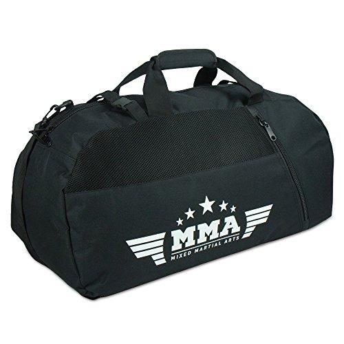 """LNX Rucksacktasche 2in1 """"MMA"""" - Kampfsport Tasche mit Rucksack Funktion Mixed Martial Arts Schwarz"""