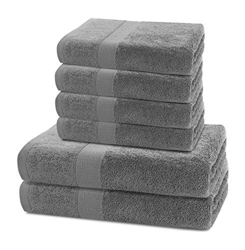 6er Set Baumwolle Qualität 525g/m² 4 Handtücher 50x100 cm und 2 Badetücher 70x140 cm silber stahl grau saugfähig Marina
