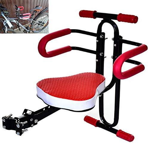 RANRANHOME Kindersitze vorne Fahrradträger Schnellwechsel-Fahrradträger mit rutschfestem Handlauf, rot, schwarz,Red