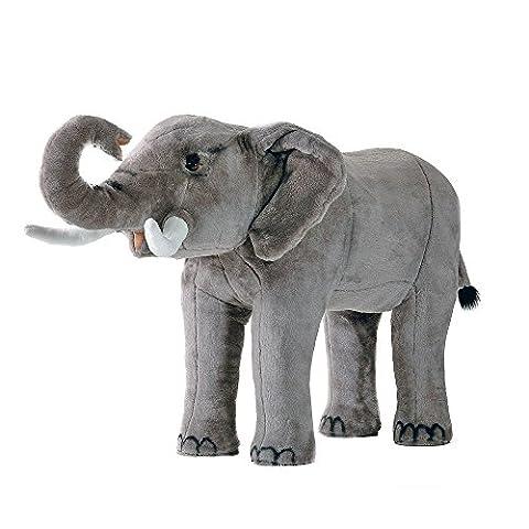 Elefant Riesen-Kuscheltier - Elefant inkl. inwendigem Gestell mit 100 kg Traglast, Kopfhöhe 80 cm, Gesamtlänge 100 cm - Plüschtier von Steiner - handgefertigt in Deutschland - XXL Kuscheltier