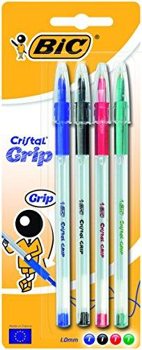 BiC Cristal Grip – Bolígrafo de punta redonda, color multicolor Blister x 4