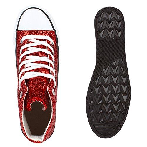 Sportliche Damen Sneakers |Stoffschuhe Camouflage Schnürer | Sneaker High Neon | Sportschuhe Rot Glitzer