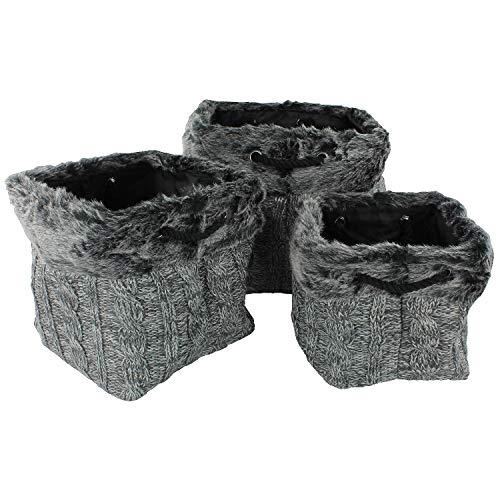 MACOSA WV440 3er Set Design Strick-Kunstfell-Körbe mit praktischen Tragegriffen Grau|Fellkorb Deko-Korb Aufbewahrungskorb Kaminkorb Fell-Behälter Deko