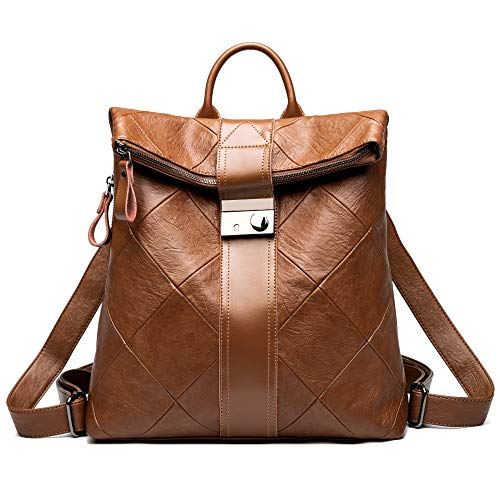 Leder Multi-tasche Rucksack (Damen Leder Rucksack - Lässig Daypack Klein Anti-Diebstahl mit Multi-Taschen Organisiert, Vintage Backpack Leichte Große Kapazität und Mode für Arbeit Schule und Reise (Braun))