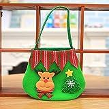 JUNMAONO 2 Stück Kinder Weihnachtsdekoration Liefert Candy Stofftasche Tragetaschen Weihnachten Tragbar Apfelbeutel Aufbewahrungstasche Handtasche Weihnachts Dekoration (Elch)