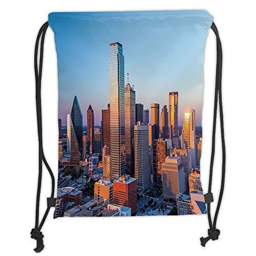 LULUZXOA Gym Bag Printed Drawstring Sack Backpacks Bags,United States,Dallas Texas City with Blue Sky at Sunset Metropolitan Finance Urban Center,