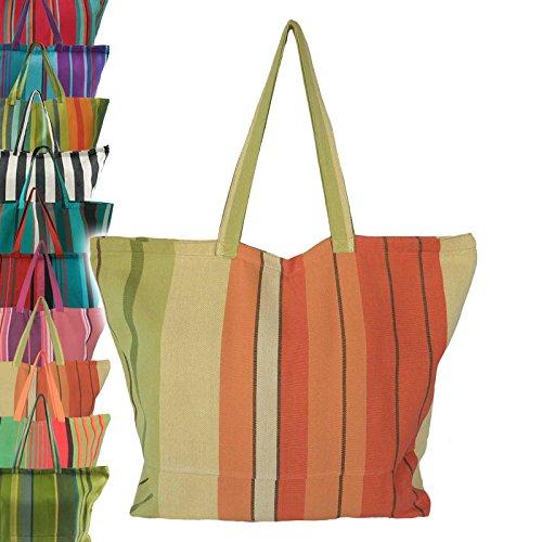 Fair-trade-shopper (maDDma ® Robuste XXL Strandtasche Badetasche Einkaufstasche Shopper Fair Trade Handarbeit, Farbe:orange-grün)