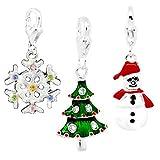 Weihnachts-Set mit 3 Charm-Anhängern für Armbänder von Thomas Sabo, Schneeflocke, Weihnachtsbaum und Schneemann