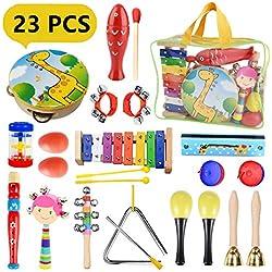 Pachock 23PCS Instrument de Musique pour Enfant, Les Enfants d'âge Préscolaire et Les Bébés Instruments de Percussion en Bois et Instruments avec Sac de Transport