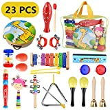 Pachock Toddler Musical Instruments, 23pcs Percussion Toy Rhythm Band Set Toddlers Toys Xylophone Glockenspiel Toy for Kids of All Ages with Carrying Bag