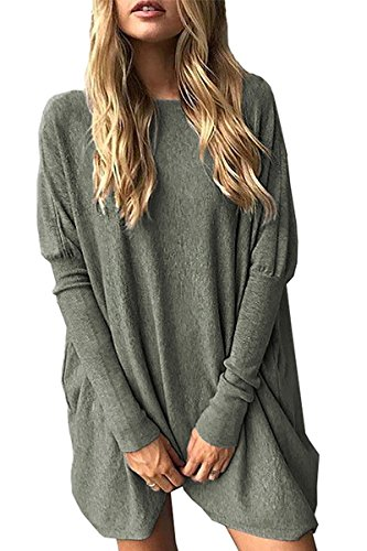 Minetom Femme Chandail Pull En Tricot Pullover Top Haut À Manches Longues Tunique Casual Mode Chic Sexy Automne Hiver Mini Robe Vert FR 46