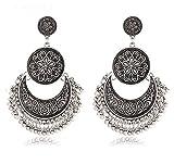 Shining Diva Fashion Oxidized Silver Stylish Fancy Party Wear Jhumki Traditional Earrings for Women & Girls