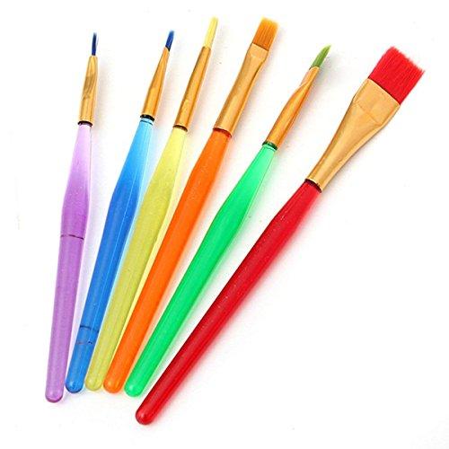 6 Stück Pinsel Set, professionelle Künstlerpinsel Set für Aquarell, Malerpinsel, Kunstpinsel-Set, Acrylmalerpinsel für Künstler Ölmalerei Aquarellfarben - Öl Sanften Gesicht Zu Waschen