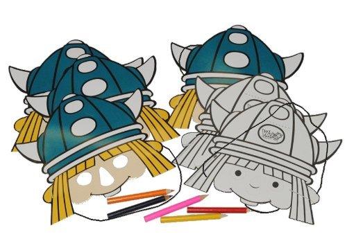 Wikinger Maske (13 tlg. Set Papier Maske - Wickie und die starken Männer - Geburtstag Kindergeburtstag Pappmasken)