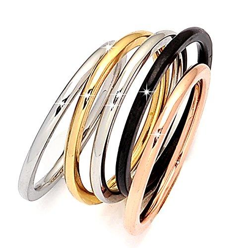 Beloved ❤️ set 5 anelli da donna, fede, fedina in acciaio inossidabile in 4 colori, nero, argento, oro rosa, oro giallo, indossabili insieme o separatamente, anello donna