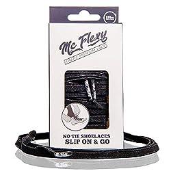 Mc Flexy Flache Elastische Schnürsenkel - Einmal Binden und Jeder Schuh wird zum Slipper (Schwarz, 140cm)