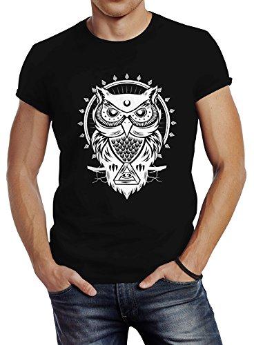 Herren T-Shirt Eule Owl Shirt Eulenmotiv Slim Fit Neverless® Schwarz