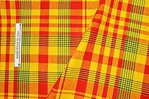 Tissu madras 100% coton jaune-rouge-vert (à partir de 20cm** voir description)