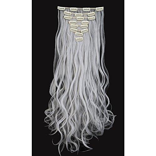 Extension grigio argento clip capelli ondulati lunghi 24 pollici 60cm full head hair extension 8 ciocche